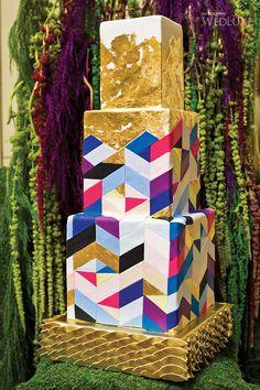 Geometric and gold leaf wedding cake