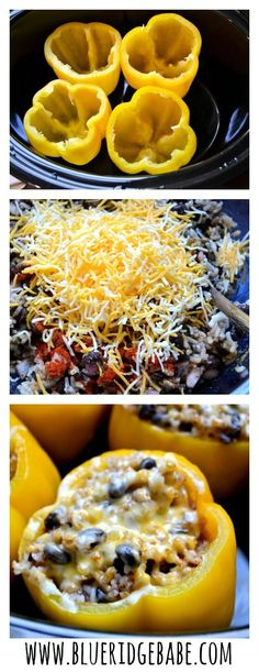 Vegetarian Crockpot Stuffed Peppers! Healthy, delicious, and takes less than 15 minutes to prep - the perfect easy dinner!