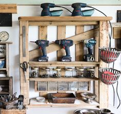 Organize your tools on an enhanced pallet shelf - perfect for non builders! via FunkyJunkInteriors.net