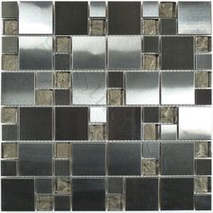 Moso Mosaics  Stainless Steel Series, Unique Shapes, Chocolate, Glossy, Brown, Glass and Metal