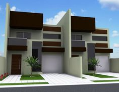 Sobrados Geminados | CWS Engenharia Duplex House Design, Condo Design, Apartment Design, Modern Townhouse, Townhouse Designs, Cluster House, Sims 4 House Building, Two Storey House, Narrow House