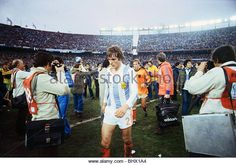 World Cup final 1978 final holland 1 Argentina 3 after extra time Jan Poortvliet leaving the field after the final - Stock Image