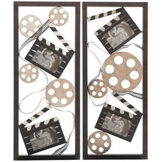 The movie buff in your life will love this Metal Movie Wall Décor Set by Cambridge Home. The assortment of metal movie reels, film, and clapperboards in various sizes pay tribute to classic cinematography techniques, making this perfect for an entertainment room.