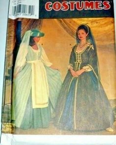 Veil, Hat/Headband, Apron, Underskirt and Blouse Sleeve Variations. Misses Historical Cosplay Simplicity. Un-Cut Sewing Pattern. Pattern is factory folded. Halloween Costume Sewing Patterns, Costume Patterns, Halloween Costumes, Elizabethan Costume, Medieval Costume, Simplicity Sewing Patterns, Vintage Sewing Patterns, Tudor Dress, Broomstick Skirt