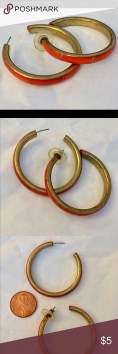 Vintage brass inlaid orange hoop earrings Great condition Vintage Jewelry Earrings