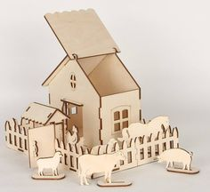 Laser flat pack farm house and animals ready to paint