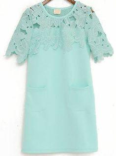 Green Contrast Lace Floral Crochet Dress - Sheinside.com