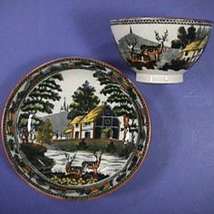 c1815 Fallow Deer Pearlware Cup & Saucer with Pratt-style color highlights