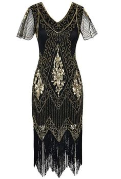 PrettyGuide Women's Flapper Dress Sequin Fringed Cocktail Gatsby Dress With Sleeve M Gold Flapper Dress Uk, Plus Size Flapper Dress, 1920s Dress, Edwardian Dress, Cocktail Dresses With Sleeves, Black Dress With Sleeves, Black Cocktail Dress, Short Sleeve Dresses, Dress Black