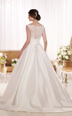 Look at ball gown wedding dresses from Essense of Australia featuring Lace illusion shoulder straps and back, a full Pearl Mikado skirt and a band at the waist.