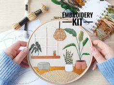 Urban Jungle   Advanced Embroidery Kit   DIY Kit   Modern Embroidery, Embroidery Plants, Embroidery Kit, Craft Kit, Sewing Gift, Needlecraft