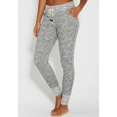 maurices Marled Jogger Sweatpant (€19) ❤ liked on Polyvore featuring activewear, activewear pants, grey, skinny leg sweatpants, sweat pants, grey sweat pants, skinny sweat pants and cotton sweatpants