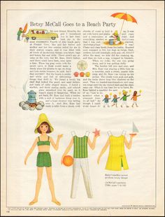 1966-Vintage ad for Betsy McCall`paper doll, beach party (042515)