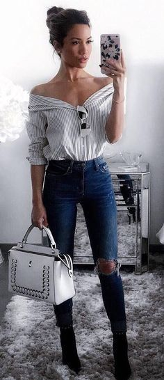simple outfit idea shirt + bag + rips + heels