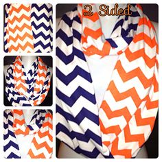 Orange and Navy Chevron Scarf Infinity Scarf by Phatcatpatch, $16.49