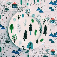 Forest Plate and Mountain Home Tea Towel Donna Wilson