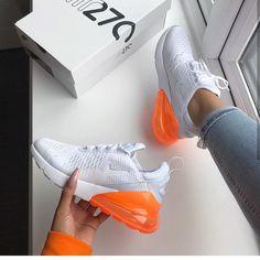 Nike Air Max 270 – White / Total Orange - shop your sneakers - damenschuhe Women's Shoes, Nike Air Shoes, Running Shoes Nike, New Shoes, Sneakers Nike, Dream Shoes, Golf Shoes, Yeezy Sneakers, Custom Sneakers