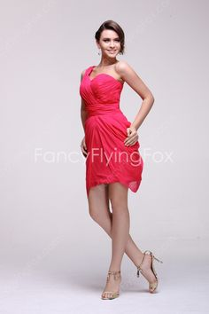 Flattering One Shoulder Neckline A-line Mini Length Hot Pink Junior Bridesmaid Dresses   $140.00