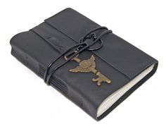 Black Leather Journal with Winged Key Clock by boundbyhand on Etsy, $33.00
