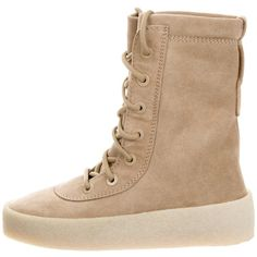Pre-owned Yeezy Season 2 Crepe Boots ($325) ❤ liked on Polyvore featuring shoes, boots, neutrals, combat boots, lace-up boots, lacing combat boots, army boots and beige lace up boots