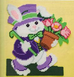 free patterns for plastic canvas | Easter Bunny Cross Wall HNG Plastic Canvas Pattern Book | eBay