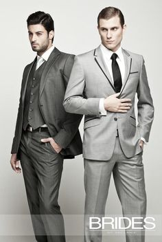 On Trend: 2012 Mens Wedding Suiting - Shades of grey are also the colour to watch... Look for contrasting trimmings and long lean cuts.