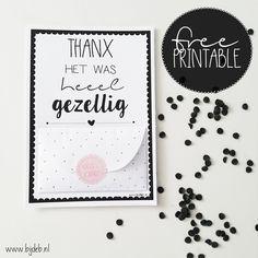 Free printable A6 bedankt kaart met geld envelopje ook zelf maken? Kijk op www.bijdeb.nl en download hem!!