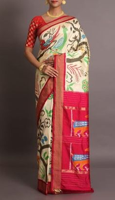 Abigail Abstract Flora And Fauna In Ikat Style Pure Pochampally Silk Saree