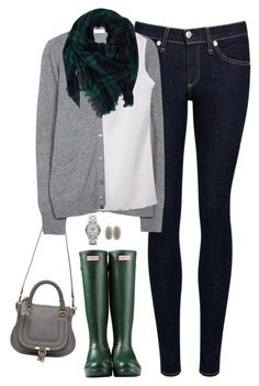 """Green, navy & gray"" by steffiestaffie ❤ liked on Polyvore featuring rag & bone/JEAN, Hunter, Chloé, Equipment, Kendra Scott and Marc by Marc Jacobs"