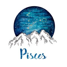 Pisces Zodiac Watercolor Print by PickledCherryblossom on Etsy