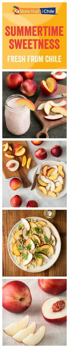 Nectarines from Chile bring summertime sweetness to your meals all year long! Use fresh Chilean fruit in your recipes. #fruitsfromchile