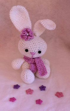 My little rabbit from the free amigurumi pattern -> http://www.tejiendoperu.com/amigurumi/conejo/