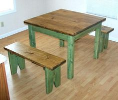 Image detail for -craftsman rustic primitive country pine farm table bench set