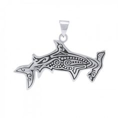 Aboriginal Hammerhead Shark Sterling Silver Pendant TPD4908 Hammerhead Shark, Deep Sea, Laser Engraving, Sterling Silver Pendants, Old Things, Unique, Accessories, Collection, Art
