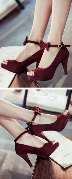 I'm not a big fan of peep toe shoes but these are cute. Burgundy Bow Pumps ❤︎                                                                                                                                                      More