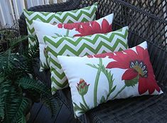 Set of 4 Indoor  Outdoor Decorative Lumbar  Rectangle Pillows  2 Red Poppy Flower on Ivory Background Floral Fabric  2 Green and Ivory Chevron *** Find out more by clicking the image