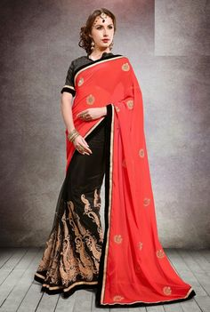 Beauteous Black and Coral Red Saree