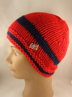 Knit  Beanie Red and Navy knit hat Fashion by ToppyToppyKnits, $21.00