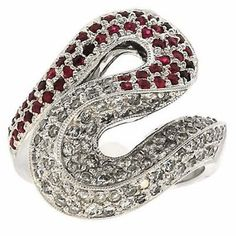 1.50 Cttw Round Diamonds and Ruby S-style Design Cocktail Ring in 14K White Gold by GetDiamondsDirect on Etsy