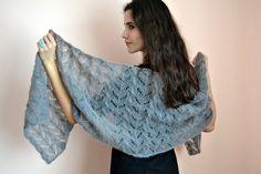 Dawn gray shawl  gray lace bridal wedding shawl by LePetitKnit, $135.00