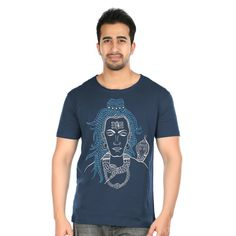 Appealing and charming, this tee promises to bring positivity in your aura with this beautifully hand painted Lord Shiva on it. To develop this art Pulpypapaya's artists have taken inspiration from Gond Tribal art of Madhya Pradesh, India. This is the authentic art work. #gondart #art #handpainted #tees #tshirts #cotton #authentic #summer #cool #stylish #unique
