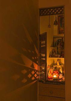 Backlit mirror, Puja area