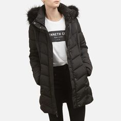 1248395ec8b Chevron Quilted Puffer Jacket with Faux Fur Hood