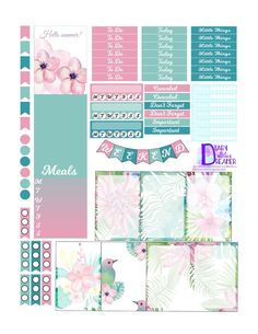 Tropical Summer Free Printable Planner Stickers for Happy Planner.
