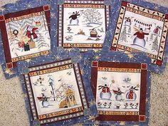 "SNOWMEN SQUARES 5 DESIGNS 4 EACH 7"" Sq Christmas Holiday Fabric"