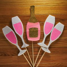 Pink Champagne Photo Booth Props - Glitter Photo Props - Champagne Bottle - Champagne Glasses - Pink White Gold - Bridal Shower - New Year
