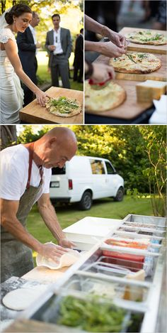 Made to order pizza station at wedding reception. Captured By: Erica Chan Photography http://www.weddingchicks.com/2014/06/20/handcrafted-barn-wedding-2/
