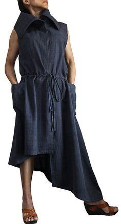 ChomThong Hand Woven Cotton Sleeveless Asymmetry Dress (DFS-048-01)