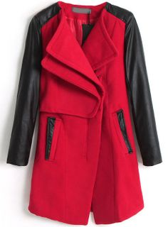 Red Contrast PU Leather Long Sleeve Pockets Coat US$46.89