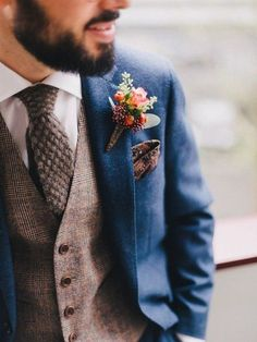 Berry Boutonniere wedding ideas groom outfit Top 10 Style Tips For Dapper Grooms - Chic Vintage Brides Wedding Men, Trendy Wedding, Wedding Blue, Wedding Rustic, Wedding Ideas, Wedding Flowers, Fall Wedding Suits, Wedding Outfits, Wedding Bridesmaids